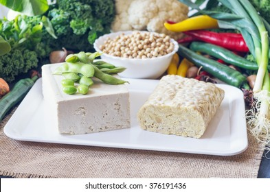 Soy products: tempeh and tofu