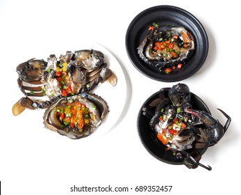 Soy sauce marinated crab Korean food isolated