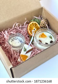 soy wax candles in a box