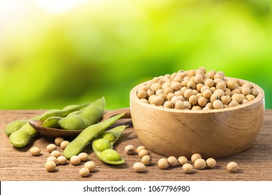 Soybean and green soy in a wooden bowl with bokeh background