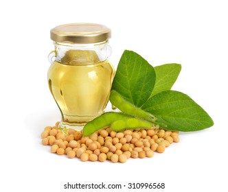 Soybean oil in a bottle with green pods and leawes.  Isolated on white backgraund.