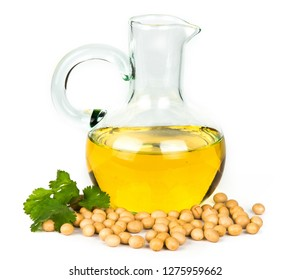 Soybean oil in a bottle. Isolated on white background