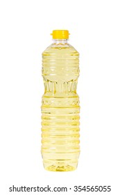 soybean oil in plastic bottle isolated on white background