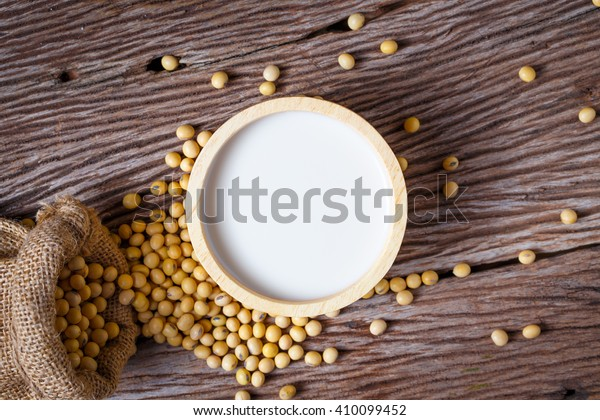 soybean on wooden background