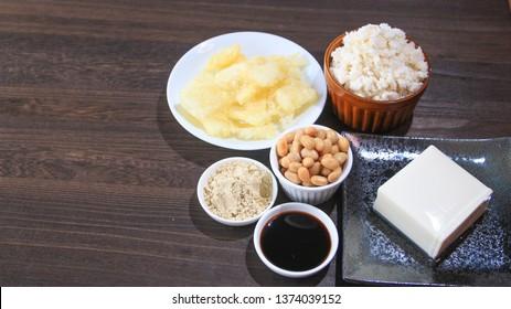 Soybeans products (soy beans, kinako, soy sauce, tofu, okara, matsuyama-age)