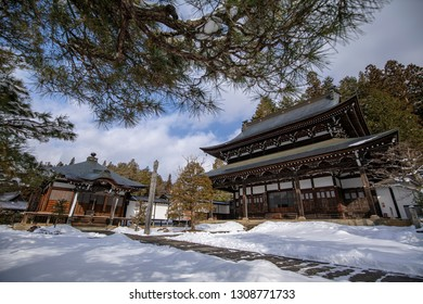 Soyuuji,Takayama, Japan - 27 February 2019 : is located in the southernmost area of Higashiyama Teramachi and next to a stone wall made with huge stones transferred from Takayama castle.