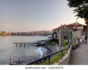 SOZOPOL, BULGARIA - 03.08.2017: Exploring The Old Part of ancient seaside town of Sozopol on the Black Sea coast of Bulgaria