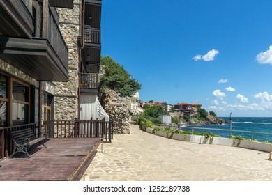 SOZOPOL, BULGARIA - AUGUST 10, 2018: Amazing Panorama with Coastal street of old town of Sozopol, Burgas Region, Bulgaria