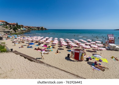 SOZOPOL, BULGARIA - AUGUST 24, 2017: View of the public beach of Sozopol in the ancient seaside town on the Black Sea Bulgarian Black Sea Coast.
