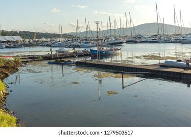 SOZOPOL, BULGARIA - AUGUST 9, 2018: Boat at port of Sozopol, Burgas Region, Bulgaria