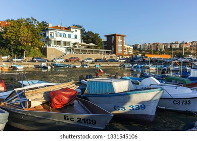 SOZOPOL, BULGARIA - AUGUST 9, 2018: Sunset view with Boat at port of Sozopol, Burgas Region, Bulgaria