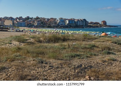 SOZOPOL, BULGARIA - JULY 13, 2016: Panoramic view of Harmanite Beach in Sozopol, Burgas Region, Bulgaria