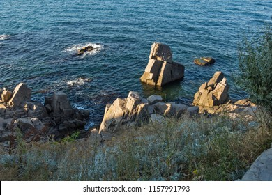 SOZOPOL, BULGARIA - JULY 16, 2016: Rocks at coastline of town of Sozopol,  Burgas Region, Bulgaria