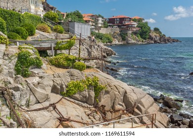 SOZOPOL, BULGARIA - JULY 16. 2016: Amazing Panorama with ancient fortifications and old houses at old town of Sozopol, Burgas Region, Bulgaria