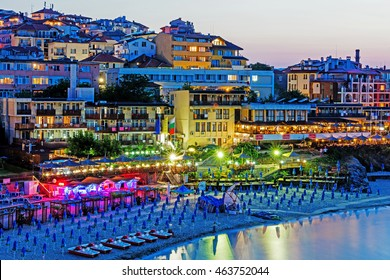 SOZOPOL, BULGARIA - JULY 25, 2016: Evening view of Sozopol, one of the oldest Bulgarian towns founded in the 7th century BC, nowadays  one of the major seaside resorts in the country.