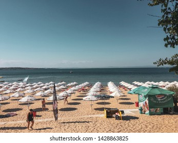 "Sozopol/ Bulgaria- July 25 2018: A beautiful summer vintage-looking photograph of the ""Zlatna Ribka"" beach in Sozopol, Bulgaria"