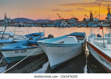 SOZOPOL, BULGARIA - JUNE 26, 2015: Sunset at the port of Sozopol, Burgas Region, Bulgaria