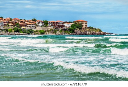 SOZOPOL, BULGARIA, JUNE 27, 2014: View of the bay and the southern ancient fortress wall in Sozopol on the Black Sea coast of Bulgaria. Sozopol on the Black Sea