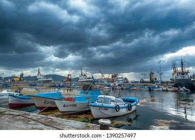 SOZOPOL, BULGARIA - May 5, 2019: Sunset view with Boat at port of Sozopol, Burgas Region, Bulgaria - Image