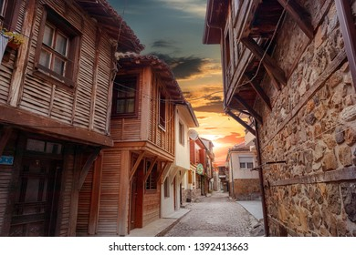 SOZOPOL, BULGARIA - May 5, 2019: City landscape at sunset- old streets and homes in balkan style, town of Sozopol on the Black Sea coast in Bulgaria-image