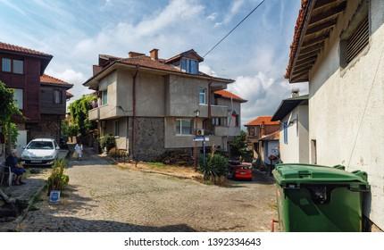 Sozopol, Bulgaria - September 03, 2014: Street and architecture in the old town of Sozopol, Bulgaria. Bulgarian Black Sea Coast. UNESCO world heritage site.