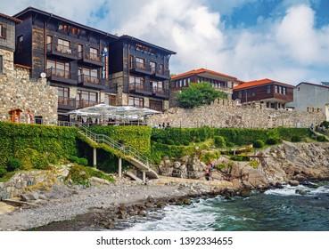 Sozopol, Bulgaria - September 03, 2014: Coastline of the old town of Sozopol. Bulgarian Black Sea coast. UNESCO World Heritage Site.