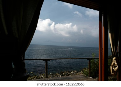 SOZOPOL, BULGARIA-AUGUST 01, 2018: window view of the Black Sea, in Sozopol.