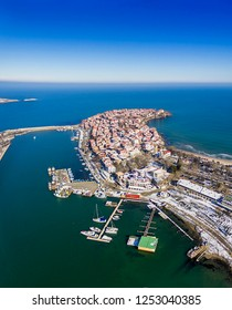 Sozopol/Bulgaria- november 15,2017:Drone view on boats and yachts at the pier in the seaport of Sozopol, Bulgaria.