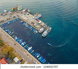 Sozopol/Bulgaria- november 24,2018:Drone view on boats and yachts at the pier in the seaport of Sozopol, Bulgaria.