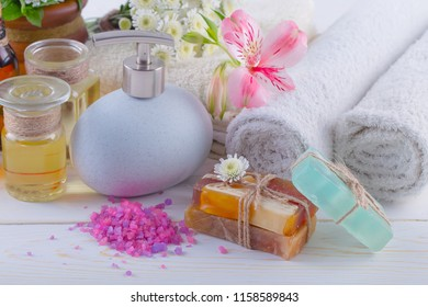 SPA accessories for massage in a composition on a light background