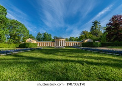 Spa architecture - colonnade of cold mineral water spring Ferdinand - spring in the park of great spa town Marianske Lazne (Marienbad) in the western part of the Czech Republic (region Karlovy Vary) - Shutterstock ID 1987382198