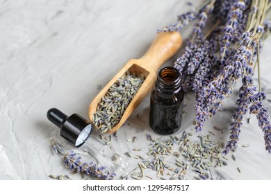 SPA Aroma Concept, Lavender Organic Oil, Dried Flowers, Towel, Gray Background