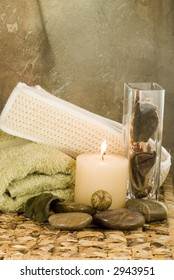 Spa aromatherapy collection on brown print
