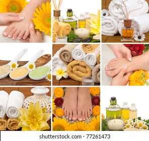 Spa, aromatherapy, massage, pedicure collage