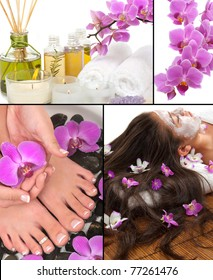 Spa, aromatherapy, pedicure, manicure, massage collage