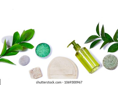 Spa background with Bath Accessories, Face and Body care. Set for personal care. Clean skin with brush, routine things. Spring picture on white background