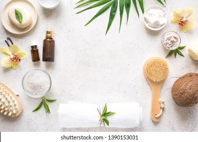 Spa Background, composition, flat lay. Natural spa cosmetics and organic treatment concept on white, copy space.