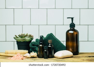 Spa background concept. Oil herb cosmetic, parfume and aroma salt for aromatherapy, massage, shower and relax