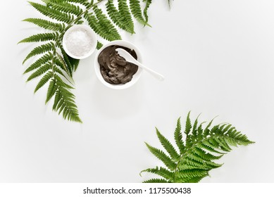 Spa background with Dead sea mud and fern leaves composition, flat lay, space for a text
