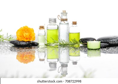 Spa Background with green leaf ,yellow ranunculus with spa set