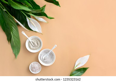 Spa background with natural cosmetic mineral clays and sea salt, view from above, blank space for a text