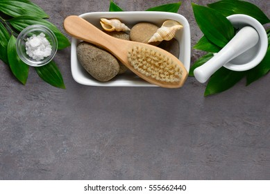 Spa background with a space fora text, high angle view