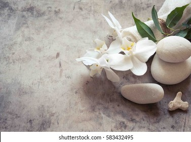 SPA background with stones/toned photo