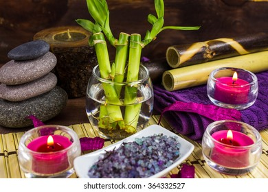 Spa bamboo lavender salts and massage stone