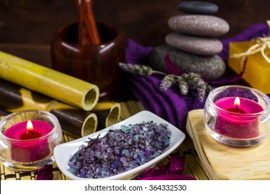 Spa bamboo lavender salts, massage stone and two candles