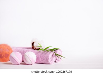 Spa Bath Cosmetics. Beauty Treatment Background. Aromatherapy with Natural Salt and Bath Bomb. Hygiene and relaxation for body. Luxury therapy and care - Image