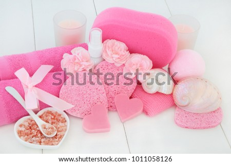 Spa Bathroom Beauty Treatment Accessories Pink Stock Photo (Edit Now