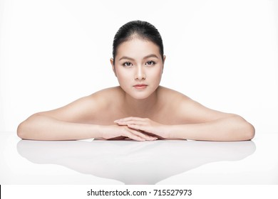 Spa. Beautiful asian woman portrait with perfect skin.