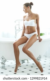 Spa and beauty. Beautiful woman in a bathroom
