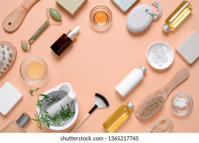 Spa beauty products for body and face home skin care, view from above on various spa treatment stuff, blank space for a text
